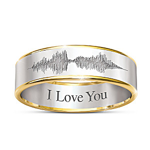 """""""Sound Of Love"""" Men's Etched Stainless Steel Ring"""