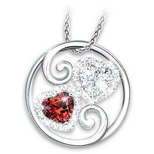 """""""Beauty Of Love"""" Simulated Gemstone Pendant Necklace"""