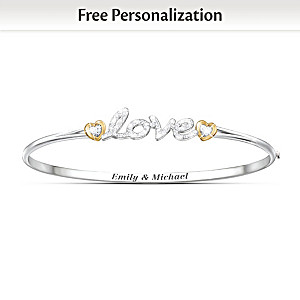 """Together In Love"" Personalized Crystal Bangle Bracelet"