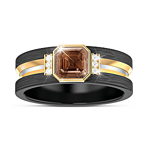 """Special Reserve"" Men's Bourbon Quartz And Diamond Ring"