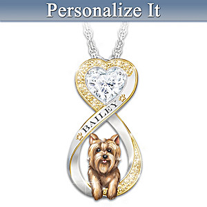 Sculpted Yorkie Personalized Infinity Necklace