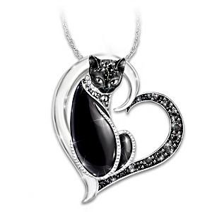 """Midnight Mysticat"" Necklace With Swarovski Crystals"