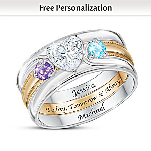 """Love Completes Us"" Name-Engraved Couples Birthstone Ring"
