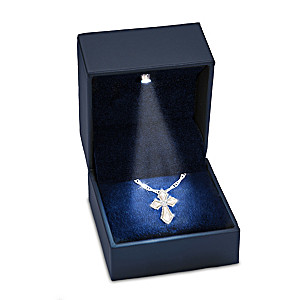 Diamond Cross Pendant Necklace With LED Lighted Gift Box