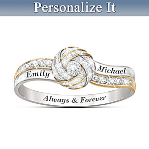 Always & Forever Couples Diamond Ring With 2 Engraved Names