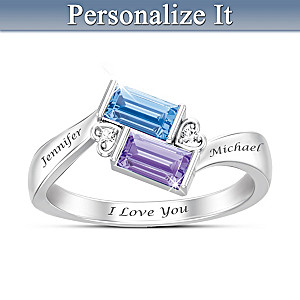 Forever Together Engraved Birthstone & Diamond Ring
