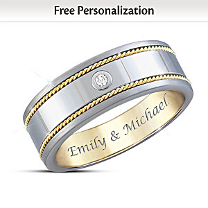 """Strength Of Our Love"" Personalized Sapphire Tungsten Ring"