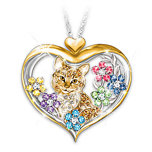 """""""The Purr-fect Garden"""" Pendant Necklace With Crystals"""