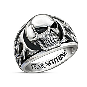 """Fear Nothing"" Rhodium-Plated Men's Skull Ring"