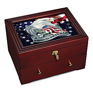 """""""Proud Veteran"""" Wooden Keepsake Box With Jody Bergsma Art"""