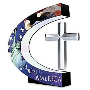 God Bless America Levitating Cross Sculpture