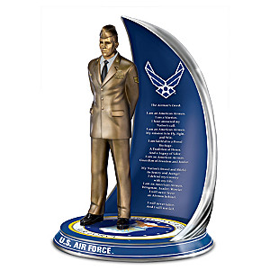 """""""Air Force Spirit"""" Cold-Cast Bronze Sculpture With Creed"""