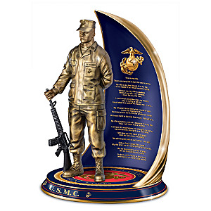 """""""Marine Pride"""" Cold-Cast Bronze Sculpture With Creed"""