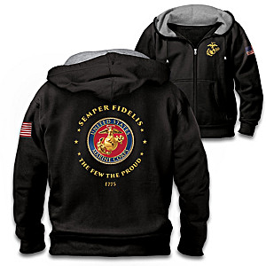 """Proud To Serve"" U.S. Marines Embroidered Front-Zip Hoodie"