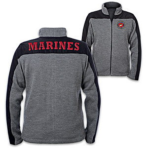 USMC Men's Knit Jacket With Appliqued Letters And Emblem