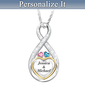 """Forever In Love"" Engraved Birthstone And Diamond Necklace"