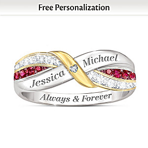"""Our Love Forever"" Ruby And White Topaz Personalized Ring"