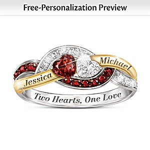 """Two Hearts, One Love"" Garnet And Topaz Personalized Ring"