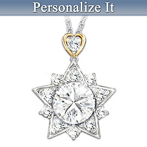 """My Shining Granddaughter"" Personalized Star Topaz Necklace"