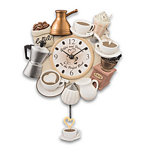 """The Perfect Blend"" Sculptural Wall Clock With Cup Pendulum"