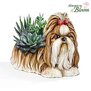 Shih Tzu Planter With Always In Bloom Succulents