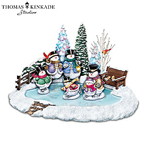 Thomas Kinkade Skating Snowmen Illuminated Musical Sculpture