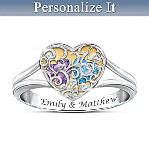 Our Love Fills My Heart Personalized Couples Birthstone Ring