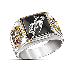 """Western Pride"" Men's Ring With Black Sapphire And Onyx"