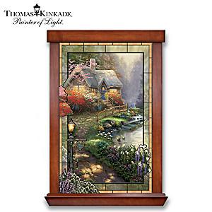 Thomas Kinkade Illuminated Stained-Glass Cottage Wall Decor