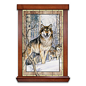 Al Agnew Wolf Art Illuminated Stained-Glass Wall Decor