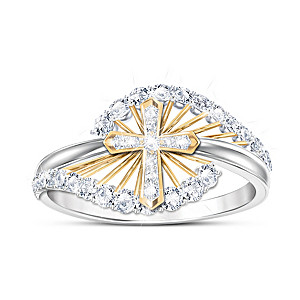 """""""Light Of Faith"""" Women's Religious White Topaz Ring"""