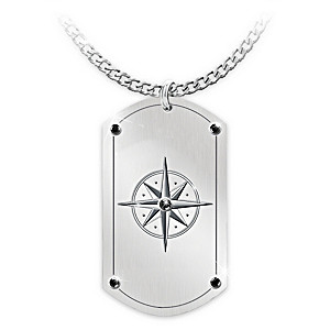 Men's Dog Tag Necklace For 2019 Graduate With Compass Design
