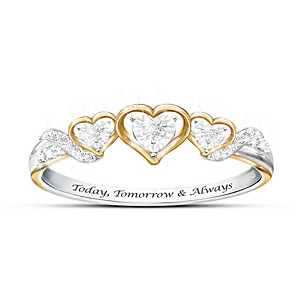 Today, Tomorrow & Always Diamond Solid Sterling Silver Ring