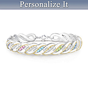 """Waves Of Love"" Personalized Family Birthstone Bracelet"