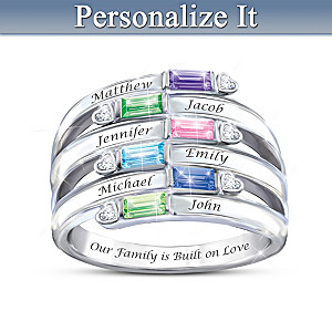 Family Name-Engraved Crystal Birthstone And Diamond Ring