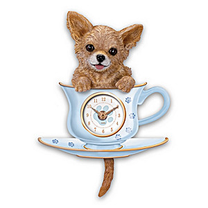 Chihuahua Pup Wall Clock With Wagging Tail Pendulum