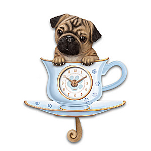 Pug Pup Wall Clock With Wagging Tail Pendulum