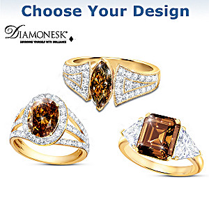 """Magnificent Mocha"" Diamonesk Ring: Choose From 3 Designs"