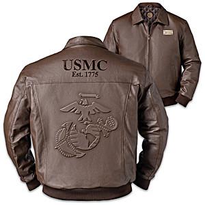 USMC Pride Men's Embossed Leather Bomber Jacket