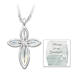 Christian Granddaughter Diamond Cross Pendant And Mirror Box