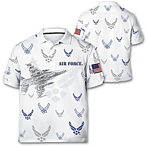 """Air Force Pride"" Men's Polo Shirt With Embroidered Patch"