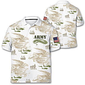 """Army Pride"" Men's Polo Shirt With Embroidered Patch"
