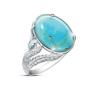 """Turquoise Oasis"" Women's Genuine Gemstone Ring"