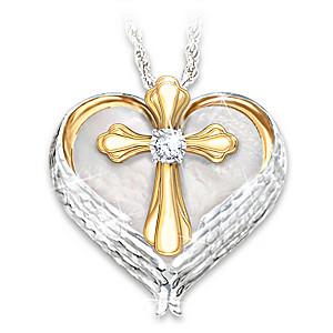 """Comfort And Faith"" Remembrance Diamond Pendant Necklace"