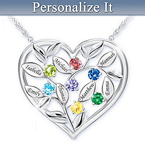 """""""Love Grows Here"""" Family Birthstone Necklace With Names"""
