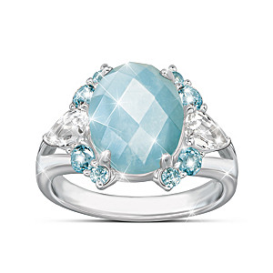 Genuine Aquamarine Ring With Over 5.5 Carats Of Gemstones