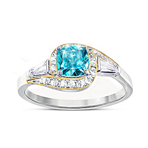 """Caribbean Queen"" 2-Carat Apatite And White Topaz Ring"