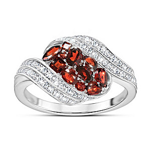 """""""Waves Of Passion"""" Garnet and Diamonesk Ring"""