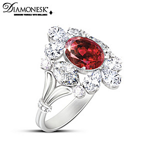 "Royal Family-Inspired ""Royal Ruby"" Women's Diamonesk Ring"
