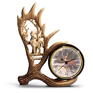 """Al Agnew """"Woodland Wonders"""" Clock With Sculpted Antlers"""